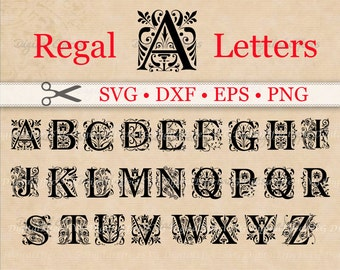 REGAL MONOGRAM SVG Files, Dxf, Eps & Png Files, Regal Svg Font Monogram, Silhouette, Cricut, Regal Monogram Svg Vector Cut Files,
