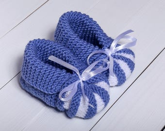 Blue baby booties Baby boy booties Baby shower Hand knit gift Shower gift Knitted baby booties Holiday gift Baby booties Baby shower gift