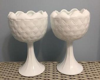 Set of 2 White Milk Glass Compote