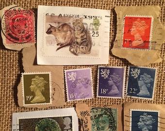 10 x used vintage british monarchy postage stamps #2
