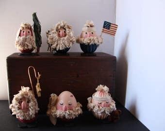 Egg ornaments, Egghead Santas, Christmas decor, Santa figures