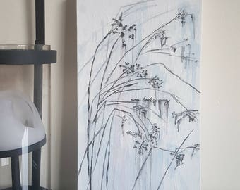 Minimal Flower Painting. '...when broken sang' Floral Picture. Original Fresh Stylish Zen Decor. Botanical Art. Flower Garden.