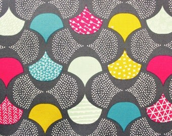 Organic Cotton, Canvas Fabric, Cloud 9 Fabric, Koi Scalloped Edge, Fan, Scales, Rashida Coleman Hale, Gray base, Multicolour,  Half Metre