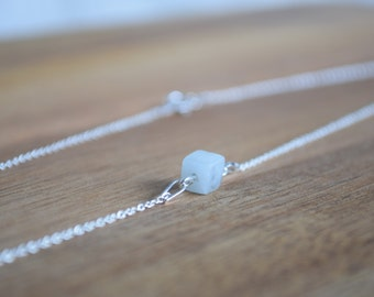 Silver Minimalistic necklace with Amazonite Cube
