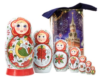 """Russian Nesting Doll - BIG SIZE - 7 dolls in 1 - Russian North Traditional Patterns - """"North Dvina Blue with Bird"""" - Hand Painted in Russia"""