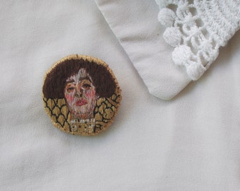 Gustav Klimt Inspired Brooch. Hand Embroidered Pin, Arty, Quirky Design