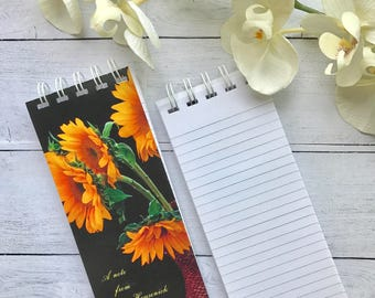 Spiral Bound Note Pad, Set of 3 Notepads, To-Do List, Personalized Note Pads, Sunflower Notepad, Grocery List, Stocking Stuffer