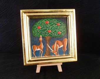The Garden of Eden, original small egg tempera painting, deer under an apple tree, with gilded frame and details