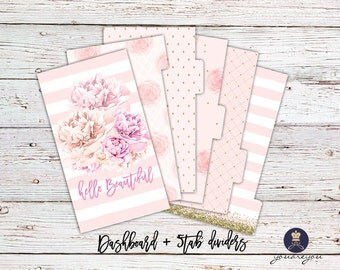 Planner Dividers Personal size, A5 Planner Dividers set of 6, Pink Favorite Planner Dividers
