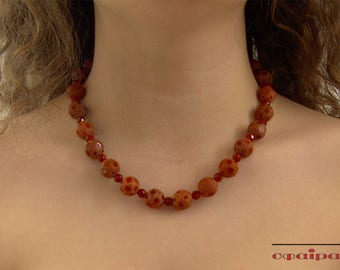 Handmade necklace, Beaded necklace, semiprecious stones, agate necklace, Free Shipping,
