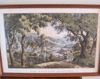 Picture, Framed Currier and Ives Print, Vintage Picture, 11x16 Framed Currier & Ives Print