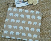 Elephant wild animal safari Coin Purse Credit Card pouch Key Ring Fully Lined Birthday Gift Ships from UK
