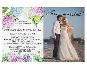 Wedding Gifts For Eloped Couple : Flower wedding invitations floral, Marriage Announcement, Elopement ...