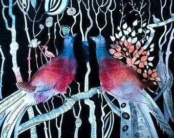 Night birds. Watercolor.