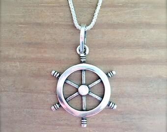 Sterling Silver Steering Wheel Pendant, Sterling Silver Pendant, Steering Whell Pendant, Nautical Jewelry, Mermaid Jewelry, Beach Jewelry