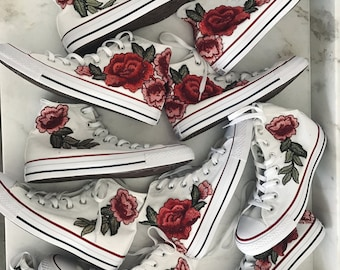 Rose embroidered hi top converse-shoes included in price