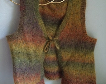 vintage, mohair hand knit vest, with front tie, earth, autumn colours, adorable