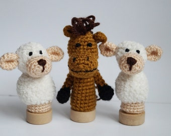 Crochet horse sheep Finger puppets Play set bible animals Christmas Story Holiday Gift Children toys toddler doll Kids gift baby gift