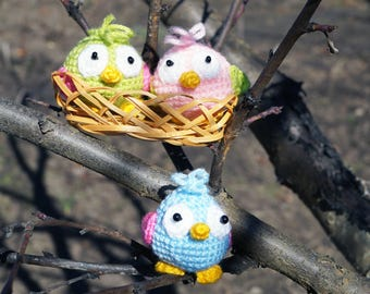 Crochet Bird Stuffed Bird Amigurumi Bird Toy crochet doll nursery decor baby shower gift kids gift kids party favors Waldorf toys montessori