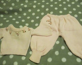 Pastel Pink Baby's Vintage Handmade Clothing Set Roses Girls Gift Knitted
