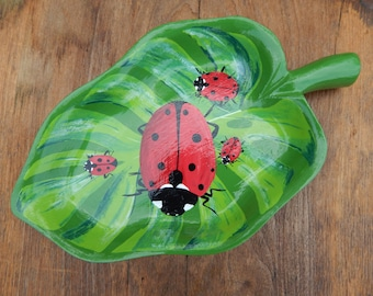 Hand painted wood bowl - 4 little lady bugs