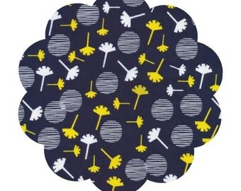 Waterland/Float print cotton fabric. Apparel/Quilt cotton fabric. DIY sewing fabric supply.  Yellow navy white fabric. Modern sewing fabric.