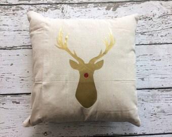 Rudolph Pillow // Christmas Pillow // Reindeer Pillow // Christmas Decor
