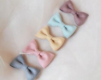 pastel bow, pastel hair bows, set of 5 hair bows, fabric bows, baby pastel bows, girls daily bow, girls hair bows
