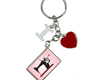 Sewing Machine Vintage Pink Background I Heart Love Keychain Key Ring