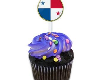 Flag Of Panama Cake Cupcake Toppers Picks Set