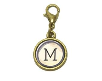 Letter M Typewriter Key  Cute Bracelet Pendant Charm