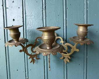 Pair of3 Arm Candle Holder, Brass Candleabras, Wall-mounted Vintage French Candle Holders
