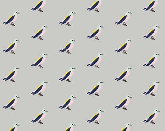 IDLE WILD BIRDS  // modern knit fabric // cotton spandex knit jersey fabric // stretch fabric