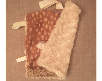 Fawn print mini lovey/binky blanky / security blanket / lovey / tags / lace