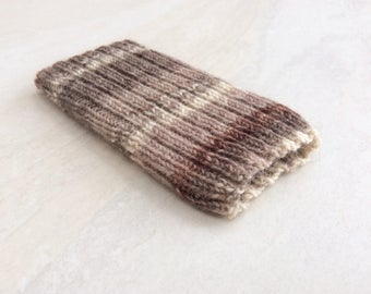 Knitted iPhone sock for SE,  4, 4S, 5, 5S, smartphone cover case, Shades of brown and cream