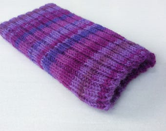 Knitted iPhone sock for SE,  4, 4S, 5, 5S, smartphone cover case, shades of purple
