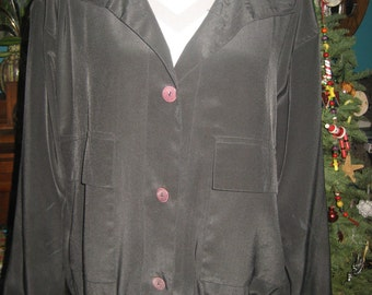 Lightweight, Lined, Button-up Shiny Black Jacket