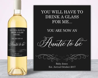 Pregnancy Announcement Ideas, Auntie to be, Unique Pregnancy Announcement Wine Label, New Aunt Gift, New Auntie Gift Baby Announcement Ideas