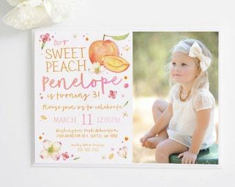 Our Sweet Peach Watercolor  Birthday Invite | invitation