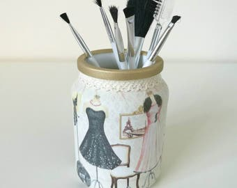 Makeup brush holder, decorative jars, decoupaged jars, bedroom decor, dressing table decor, boudoir, beauty storage, gifts for women.