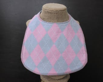 Bib - Pink and Grey Argyle  with snap fastener.