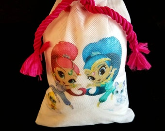 """Shimmer and Shine Mini Pinata Goodie Bags Party Bags  favor bags birthday  for treats gifts and candy's  can be personalized 6"""" x 8"""" Qty 12"""