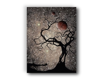 16 in. x 12 in. Giclée, Canvas Print, Reproduction, Acrylic Painting, Contemporary Art, Surrealism, Sepia, Brown, Silhouette Tree