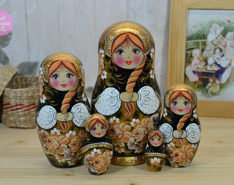 Russian nesting doll, Gift for daughter, Handmade Matryoshka, Babushka in black white and gold, Wooden hand painted stacking dolls, Folk art