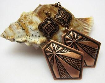 Copper Art Deco Earrings - Long Dangle Earrings - Copper Jewelry - Casual Earrings - Metal Earrings - Boho - Womens - Gift Idea - MT-01
