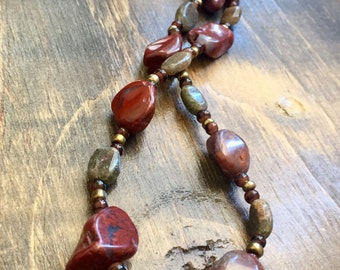 """Red Jasper and Quartz Necklace 23.5"""""""