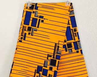 African Fabric - by the yard - Wax/Dutch - cobalt blue, yellow, white, black - geometric rectangles and lines pattern