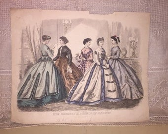 Antique Victorian Era MME Demorests Mirror of Fashions Hand Colored Tinted Fashion Print Engraving 1865
