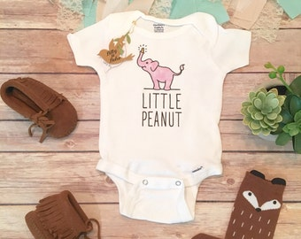 Little Peanut Onesie®, Baby Shower Gift, Elephant Baby, Boho Baby Clothes,Hipster Baby, Pink Elephant Onesie, Baby Girl Clothes, Bodysuit