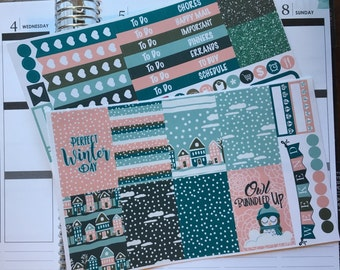 Sleepy Winter Town Mini Weekly Set ECLP Horz & Vert Planner Stickers Erin Condren Mambi Inkwell Press Filofax KikkiK Happy